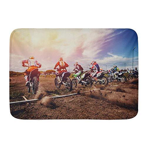 Microfiber Bath Mat Rug,Big Bike Racer On Motorcycle Participates Motocross Riding Prepare Sports Recreation Dirtbike,Bathroom Plush Mat Floor Non-Slip Rugs 29.5' X 17.5'