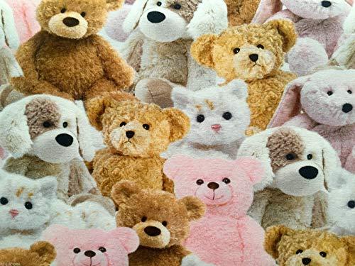 Sweet Teddy Bear – en tissu stretch coton jersey Matière pour enfant 160 cm de large – Rose (vendu au mètre)