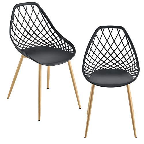[en.casa] Set da 2 Sedie di Design in Plastica con Gambe in Metallo per Sala da Pranzo/Ristorante/Sale di Attesa - Nero