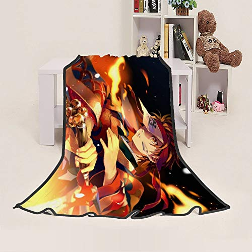 Jiaxiin Demon Slayer - Tanjirou Kamado Flame Anime Cartoon Characters Throws Blanket Quilt Soft Plush Comfortable Gift (F, 80×120cm)