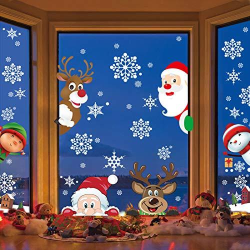 LANMOK 10 blätter Weihnachten Fensterbilder Schneeflocken Fensteraufkleber Statisch Spähen Elche Süße Weihnachtsmann Winter PVC Sticker Fensterdeko für Kinderzimmer Tür Vitrinen Glasfronten