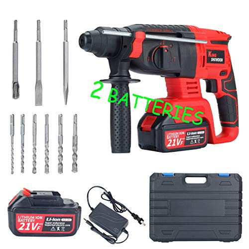 Cordless Rotary Hammer Drill, King Showden 21V Brushless Rechargerable Demolition Hammer Kits with 1550RPM, Variable Speed, Adjustable Handle, 2 X 4.0Ah Battery & Charger, Drill Bits, Chisels