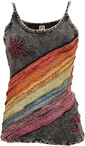 Guru-Shop Stonewash Goa Top, Boho Style Hippie Top, Damen, Regenbogen 10, Baumwolle, Size:M/L (40), Tops & T-Shirts Alternative Bekleidung
