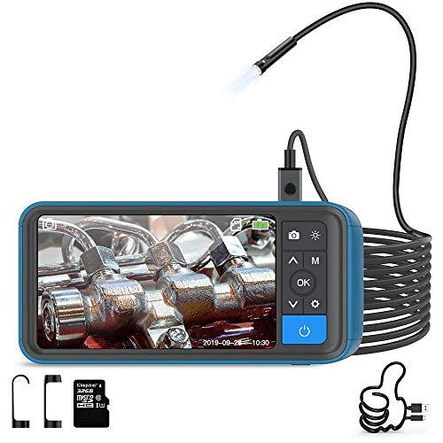 Teslong Inspektionskamera, 1080P HD Zwei Linsen Industrielles Endoskopkamera mit 4,5 -Zoll -Farb-IPS-Bildschirm, Endoskop mit 6 LED Licht, IP67 wasserdichte Rohrkamera, 32GB TF Karte (16.4 FT)