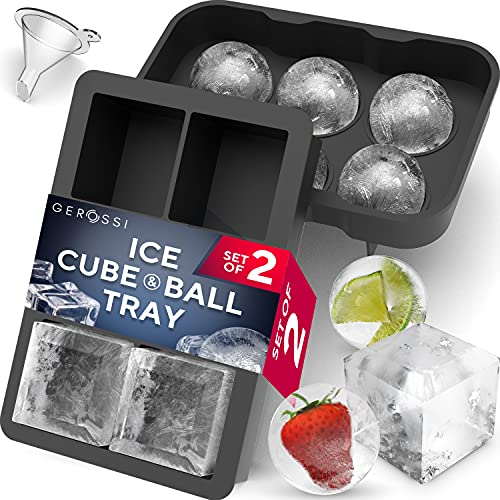 Premium Ice Cube Trays, Food Grade Silicone Ice Ball Maker Mold with Lids & Large Square Ice Cube...