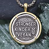 huangshuhua Collar Vegano, Regalo para Hermano, papá, Novio, Derechos de los Animales, Colgante de Metal, Collares más Fuertes y Veganos