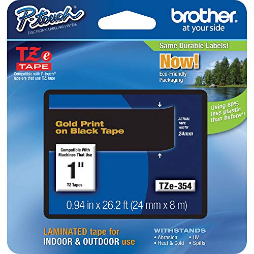Brother Genuine P-Touch TZE-354 Tape, 1 (24 mm) Standard Laminated P-Touch Tape, Gold on Black, Laminated for Indoor or Outdoor Use, Water-Resistant, 26.2 ft (8 m), Single-Pack
