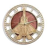Reloj de Pared F-22 Raptor Tactical Fighter Aircraft Reloj de Pared de Madera Decoración rústica para el hogar Aviación Diseño Moderno Reloj de Pared Reloj de Barrido silencioso