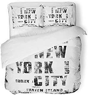 Emvency 3 Piece Duvet Cover Set Brushed Microfiber Fabric Breathable America New York City Street Graphic NYC Label Emblem Stamp Handwritten Black Bedding Set with 2 Pillow Covers Twin Size