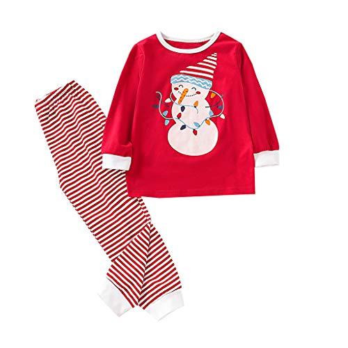 Bébé Ensemble de Pyjama Père Noël Vêtement de Nuit Garçon Fille Nouveau-né Deux Pièces Manche Longue Rouge Top Pantalon Romper Sleepsuit Hiver Combinaison Pas Chere (2-3 Ans)