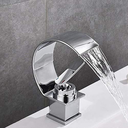 ZHQHYQHHX Grifos de lavabo de latón bronce oscuro/cromo tipo curva grifo de boca plana fregadero de agua grifo mezclador (color: cromo, acabado de superficie: con manguera tamaño 3 8)