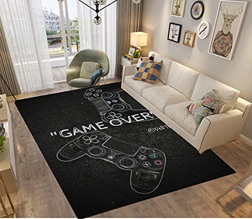 PEIHUODAN Alfombras De Habitacion Juvenil Chico Infantiles Niño Juegos Gamer Universo 3D Gamepad Antideslizante Lavables Pelo Corto Grandes Pequeñas Alfombras Salon Modernas (120x160 cm,Negro)