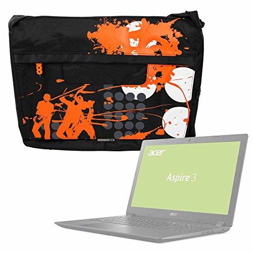 DURAGADGET Bolso Negro con Print En Color Naranja para Portátil Acer Aspire 3-A315-41S, ASUS VivoBook S15 S510UA-BR215T