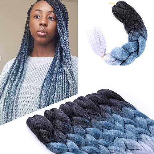 BELLQUEEN 6Packs Kanekalon Braiding Hair 24 inches Jumbo Braiding Hair Grey Ombre Braiding Hair Grey Braiding Hair Extensions For Jumbo Box Braids Crochet Hair (Black Blue Grey 6Packs)