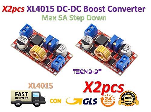 TECNOIOT 2pcs 5A Max XL4015 DC to DC CC CV Step-Down Lithium Battery Charger Converter | 2 Stück 5 A Max XL4015 DC/DC-CC-CV-Abwärtswandler für Lithium-Batterie-Ladegeräte