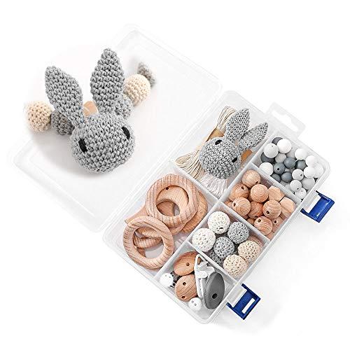 DIY Silikonperlen Schnullerkette,Baby Spielzeug Zahnen Silikon,Und Kaninchen,Perlen Beißring,Silikon-Perlen-Kit,Fünfzackige Stern-Clip,Holzperlen,Kinderkrankheiten Halskette Armband(BIG BOX/GRAY)
