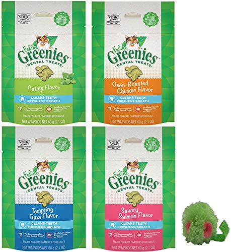 Greenies Feline Dental Treats for Cats 5 Pack Variety Bundle - Includes 4 Bags, 2.1 oz each, (Catnip, Chicken, Tuna, Salmon), plus 1 Grassland Pets Micro Mouse