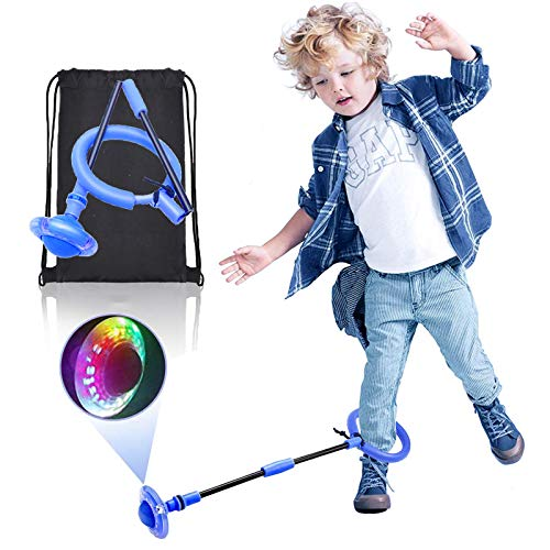 Jmarfiyo Skip It Ball, Foldable Ankle Skip Ball for Kids, Colorful Light Flashing Jumping Ring with Backpack, Skipit Toy Sports Swing Ball for Fitness, Boy & Girl Gift, Red