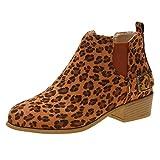NPRADLA Damen Stiefel in Übergröße Slip-On mit quadratischen Absätzen und Leopardenmuster Kurze Plateaustiefel für Damen mit runder Kappe(43,Braun)