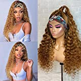"""Ombre Human Hair Wigs Curly Non Lace Front Wigs Unprocessed Virgin Hair for Black Women Glueless Deep Wave 2 Tones Colored Headband Wigs Honey Blonde Full Machine Made Wig with Black Roots 18"""""""