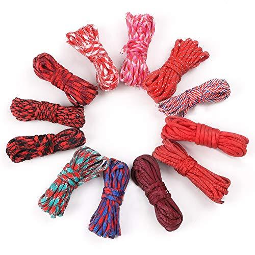 Hileyu - Cuerda de paracaídas de 12 colores, 33 pies, cuerda de paracaídas 550 Multifunción, tipo III, cuerda de paracaídas, 550 libras, juego de manualidades al azar, 7 hebras, cuerda de supe