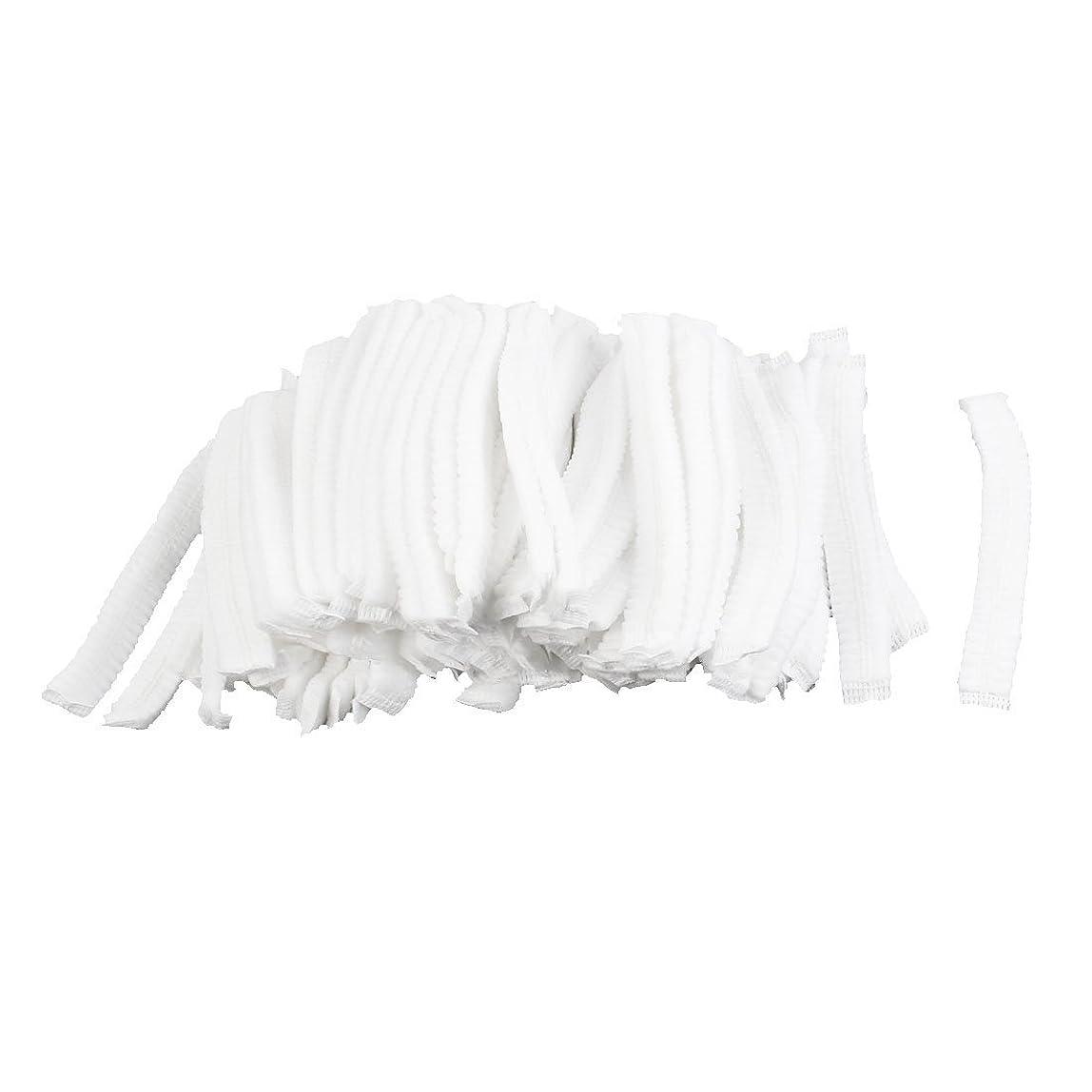休日倒産土地uxcell シャワーキャップ 白い 不織布 使い捨て 防塵 100個入り