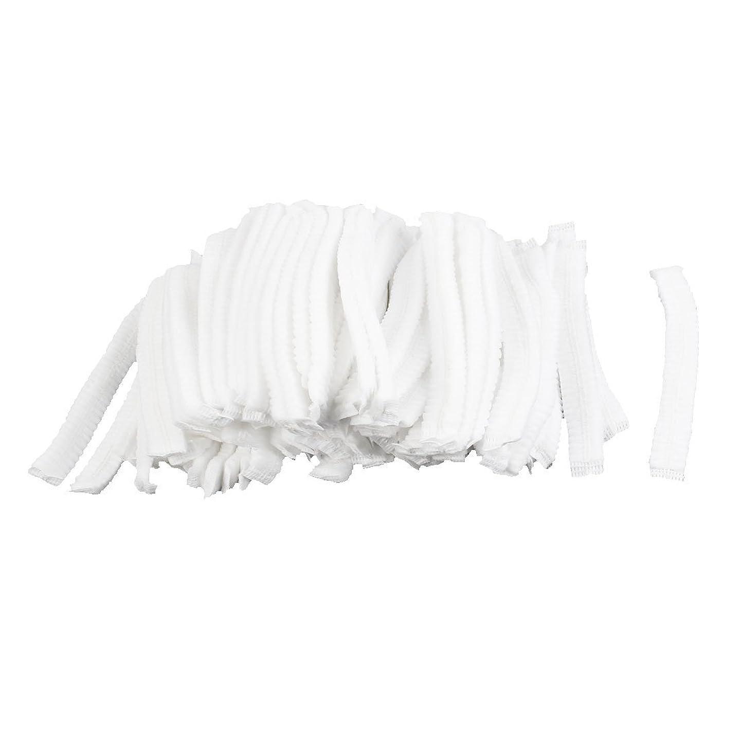 モジュールコショウ回転するuxcell シャワーキャップ 白い 不織布 使い捨て 防塵 100個入り