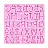 Fugift Molde de resina epoxi con letras inglesas y números, de fundición, molde de silicona para manualidades, joyería, accesorios de joyería