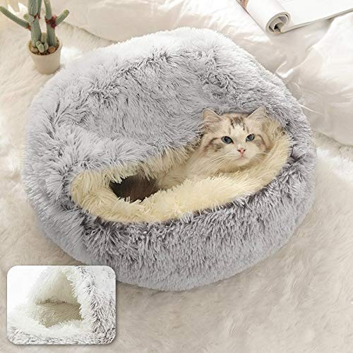 2 in 1 Katzenhöhle Haustiernetz Katzen Plüsch Katzenbetten Rutschfestes Decken Betten Sofas Katzen Betten Warm Schlafsack
