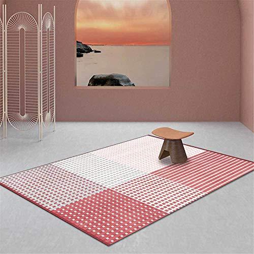 Alfombra moderna y elegante Línea geométrica Diseño de color degradado Alfombra suave, para sala de estar Dormitorio Cocina Guardarropa Mesita de noche Habitación para niños Alfombra para silla Rojo-