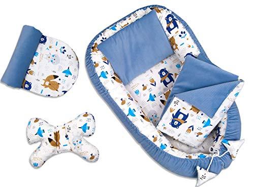 PIMKO VELVET Babynestchen Kuschelnest 5-teiliges Set ink. warm Babynest 90x55 cm Schmetterling-Kissen flaches Kissen Matratze Babydecke Nestchen für Babys Super Weich Baby-Kokon (Denim blue)