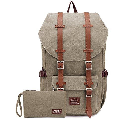 """KAUKKO KAUKKO Rucksack Studenten Backpack 17 Zoll für 15"""" Notebook Lässiger Daypacks Schultaschen Mochila Tipo Casual, 45 cm, Marrón (khaki2pc)"""