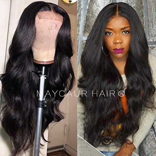 Maycaur Natural Black Long Body Wave Wigs Perruque en dentelle synthétique pour femme Noir naturel
