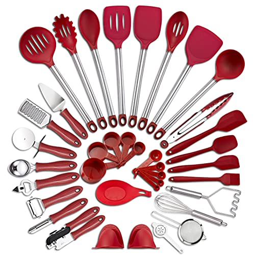 LIMX Kitchen Utensil Set 37-piece Cookware Silicone And Stainless Steel Nylon Non-stick Spatula Set Baking Tool Set (Color : 37Pcs Red)