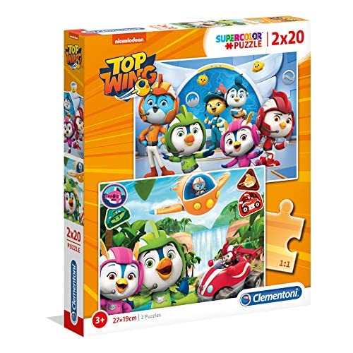 Clementoni - 24760 - Supercolor Puzzle - Top Wing - 2 X 20 Pezzi - Made In Italy - Puzzle Bambini 3 Anni +
