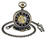 MICGIGI - Reloj de bolsillo unisex mecánico de cuerda manual y multifunción, con cadena