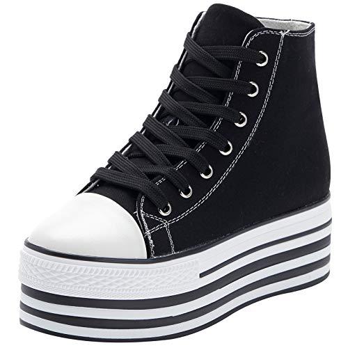 Jamron Mujer Suela Doble Plataforma Alta Zapatos de Lona Tacón de Cuña Baja con Cordones Enredaderas Zapatillas de Deporte de Moda Negro SN625-1 EU37