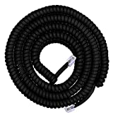 Power Gear Coiled Telephone Cord, 4 Feet Coiled, 25 Feet Uncoiled, Phone Cord works with All Corded Landline Phones, For Use in Home or Office, Black, 76139