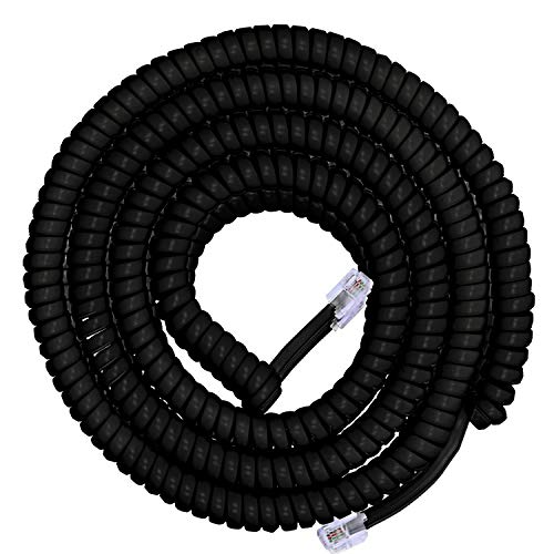 Power Gear Coiled Telephone Cord, 4 Pack, 4 Feet Coiled, 25 Feet Uncoiled, Phone Cord works with All Corded Landline Phones, For Use in Home or Office, Black, 46082