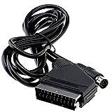 ENET - Cable de Repuesto DE 1,8 m, Cable de Vídeo RGB Scart TV para Sega Saturn, Color Negro
