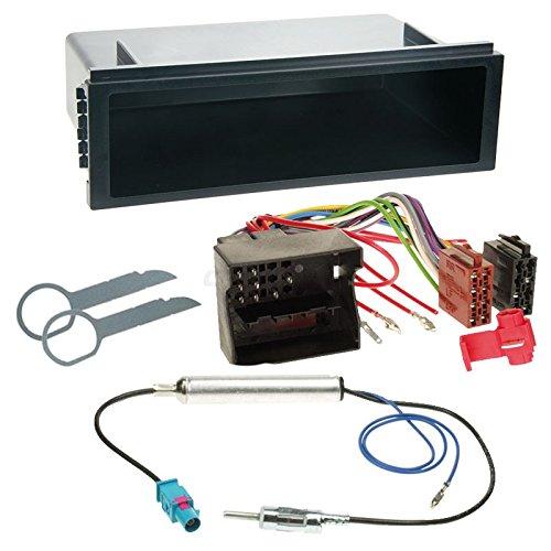 Carmedio VW Fox 05-11 1-DIN Autoradio Einbauset in original Plug&Play Qualität mit Antennenadapter Radioanschlusskabel Zubehör und Radioblende Einbaurahmen schwarz