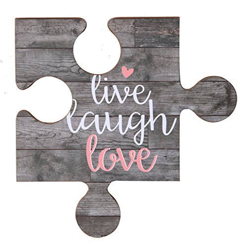 NIKKY HOME Live Laugh Love Vintage Wood Puzzle Piece Wall Sign with Quote