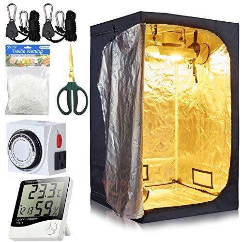 BloomGrow 48''x48''x80'' Grow Tent Room w/Waterproof Floor Tray + Grow Light Hanger + Digital Hygrometer + Bonsai Shears + 24 Hour Timer + Trellis Netting Indoor Grow Tent Kit