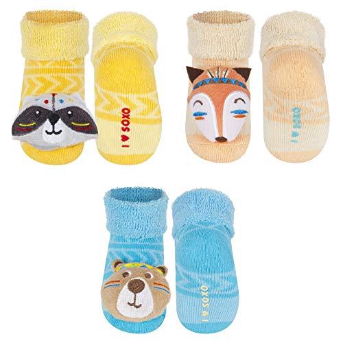 soxo Baby Rasselsocken   Größe 16-18   Antiallergisch Set für 0-12 Monate Jungen und Mädchen   3er Pack   Baumwolle Söckchen mit schönen bunten Tiermuster   Indische Tiere