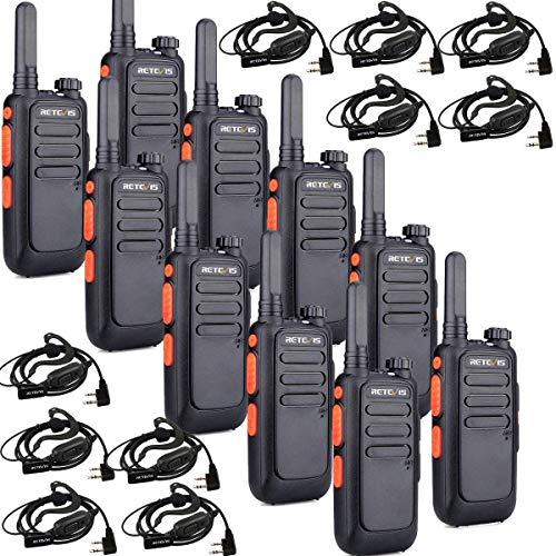 Retevis RT669 Walkie Talkies Largo Alcance, PMR446 Radios Bidireccionales Recargables, Mini Walkie Talkie con Auriculares, VOX, Linterna, para Camareros, Negocios, Almacén (Negro, 10 Piezas)