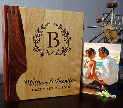 LoveToCreateStamps Personalized Wood Cover Photo Album, Custom Engraved Wedding Album, Style 105 (Maple & Rosewood Cover)