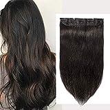 Extensiones de cabello humano Remy 3/4 de una sola pieza, 40 - 55 cm,set de alta calidad para cabeza completa, pelo liso largo y sedoso, accesorio de belleza femenina