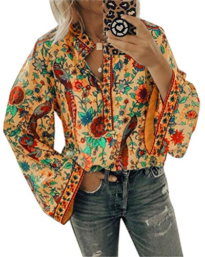 Minetom Bluse Damen Oberteile Elegant Hemdbluse Drucken Langarmshirt V-Ausschnitt Tops Frühling Herbst Winter Shirt Freizeit Business Hemd Orange 50