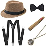 BABEYOND 1920s Mens Gatsby Costume Accessories Set 30s Panama Hat Elastic Y-Back Suspender Pre Tied Bow Tie Pocket Watch and Plastic Cigar (Camel Set)