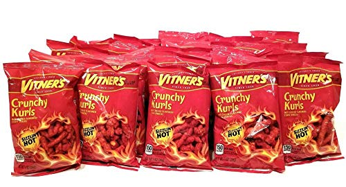 VITNER'S FLAMING HOT CHEESE CRUNCHY KURLS 25 Pack 1oz tasty bags